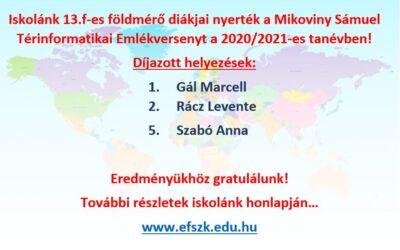 Mikoviny Sámuel Térinformatikai Emlékverseny – 1. és 2. helyezés
